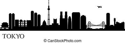 ciudad, silueta, tokio