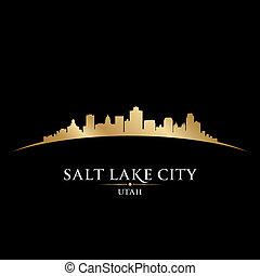ciudad, silueta, utah, lago, fondo negro, sal
