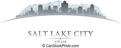 ciudad, silueta, utah, lago, plano de fondo, blanco, sal