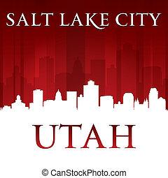 ciudad, silueta, utah, lago, plano de fondo, sal, rojo
