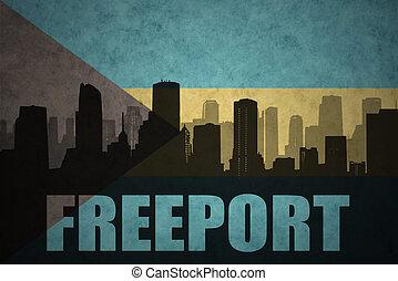 ciudad, silueta, vendimia, resumen, freeport, bandera de...