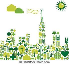 ciudad, silueta, verde, ambiental, iconos