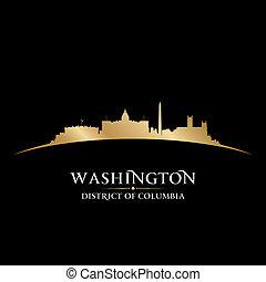 ciudad, silueta, washington dc, contorno, fondo negro