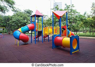 ciudad, sin, parque, patio de recreo, niños