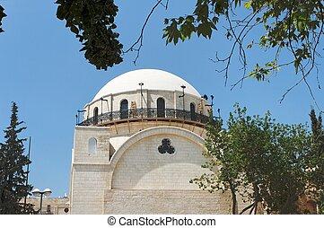 ciudad, sinagoga, viejo, judío, cuarto, jerusalén, hurva