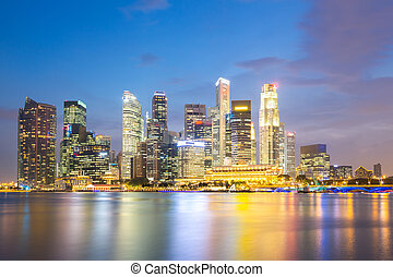 ciudad, singapur, anochecer
