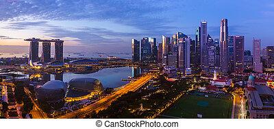 ciudad, singapur, contorno