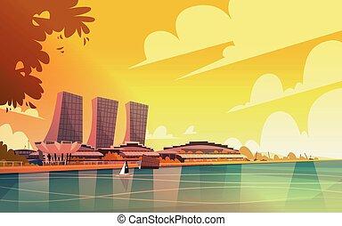 ciudad, singapur, contorno, rascacielos, plano de fondo, cityscape, vista