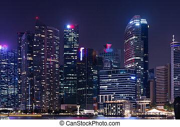 ciudad, singapur, downtown., contorno, noche, cityscape,...