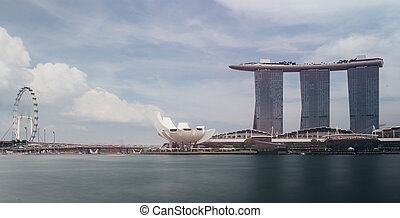 ciudad, singapur, panorama, contorno, paisaje, cityscape,...