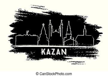 ciudad, sketch., kazan, mano, contorno, dibujado,...