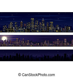 ciudad, skyline., colección, de, noche, contorno
