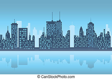 ciudad, skyscapers, noche