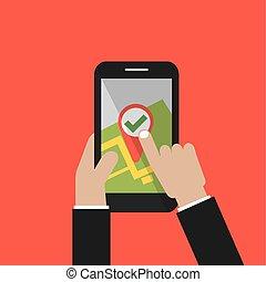 ciudad, smartphone, mapa, pantalla, ilustración, mano, vector, navegante, asimiento, gps
