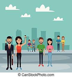 ciudad, smartphone, utilizar, gente