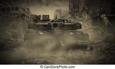 ciudad, solo, tanque, arruinado, zombi, por, apocalypse., durante, paseos