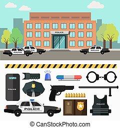 ciudad, station., vector, policía, illustration.
