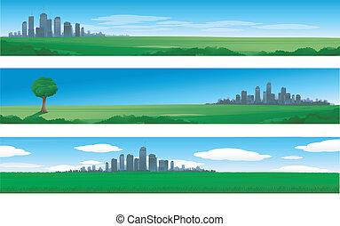 ciudad, suburbano, paisaje