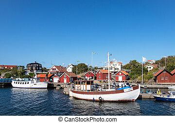 ciudad, suecia, r?nn?ng, vista