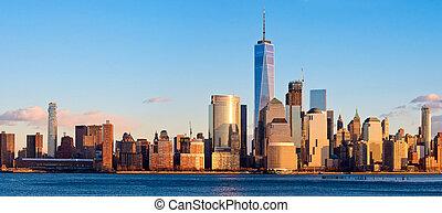 ciudad, sunset., york, nuevo, panorama