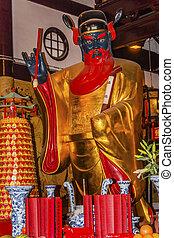 ciudad, taoísta, dios, guan, shanghai, china, estatua,...