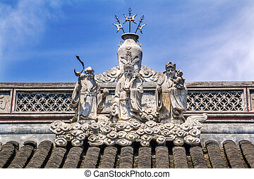 ciudad, taoísta, estatuas, dios, shanghai, china, yueyuan,...