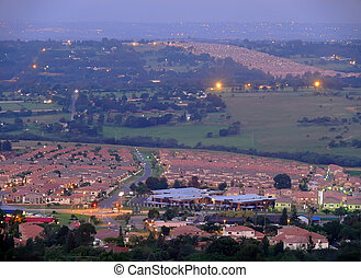 ciudad, tarde, áfrica, africano, life., johannesburg, sur, paisaje