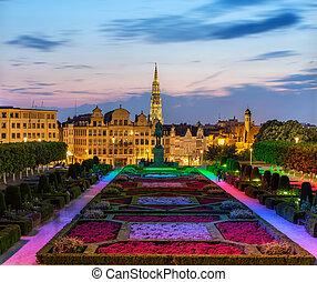 ciudad, tarde, centro, bruselas, vista
