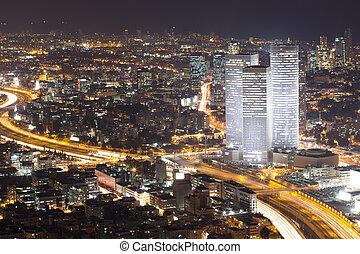 ciudad, teléfono, -, aviv, contorno, noche