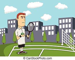 ciudad, tenis, juego, hombre