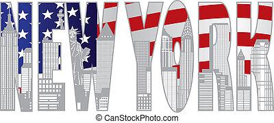 ciudad, texto, ilustración, ooutline, contorno, york, nuevo