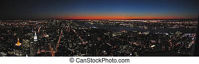 ciudad, todos, imperio, panorama, estado, noche, nueva york,...