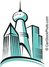 ciudad, torre, moderno, comunicaciones
