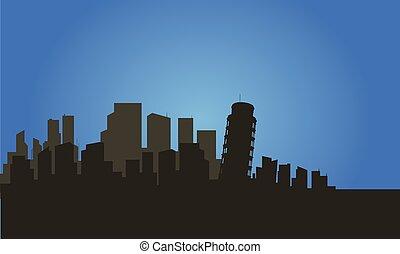 ciudad, torre, silueta, pisa