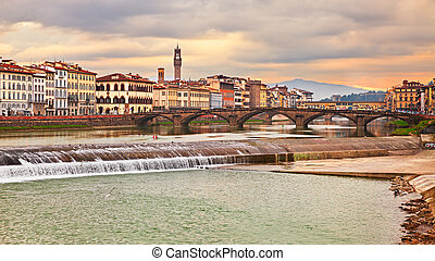 ciudad, toscana, florencia, río arno, paisaje, italy:
