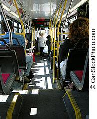ciudad, tránsito, autobús