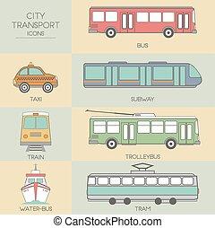 ciudad, transporte, iconos
