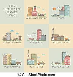ciudad, transporte, servicio, iconos