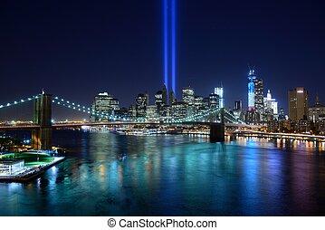 ciudad, tributo, york, nuevo, luz
