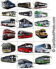 ciudad, turista, dieciocho, ilustración, vector, buses.