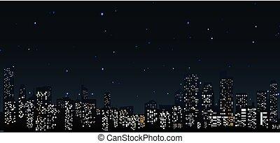 ciudad, .urban, contornos, escena, noche