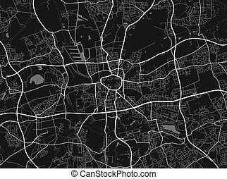 ciudad, urbano, grayscale, calle, poster., mapa, vector, map...