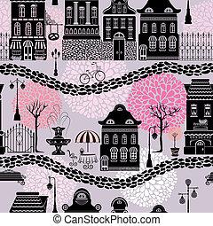 ciudad, uso, patrón, siluetas, seamless, casas, cuento, ...