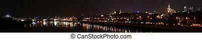 ciudad, varsovia, panorama