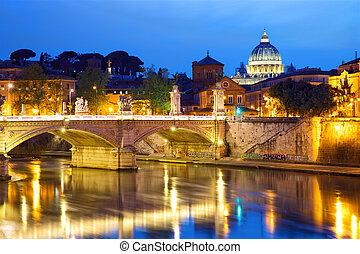 ciudad, vaticano, anochecer