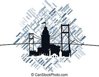 ciudad, vector, arte, estambul