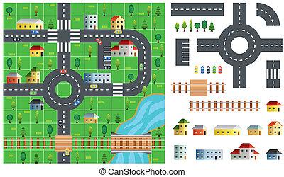 ciudad, vector, juego herramientas, ilustración, mapa
