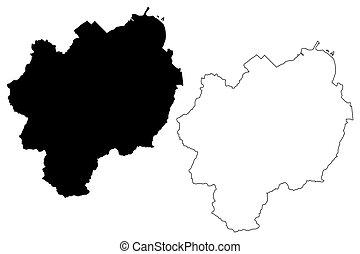 ciudad, vector, mapa, país, ilustración, isla, hokkaido, (...