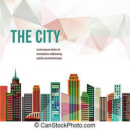 ciudad, -, vector, plano de fondo