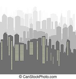 ciudad, vector, plano de fondo, panorama